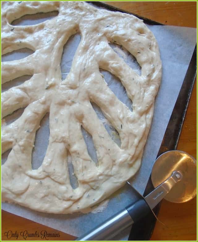 Homemade fougasse bread with rosemary and thyme