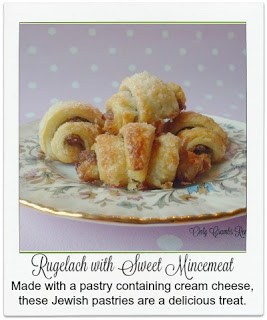 Made with a light, flaky, pastry containing cream cheese and an enhanced sweet mincemeat filling, these small Jewish pastry treats are a true taste sensation.