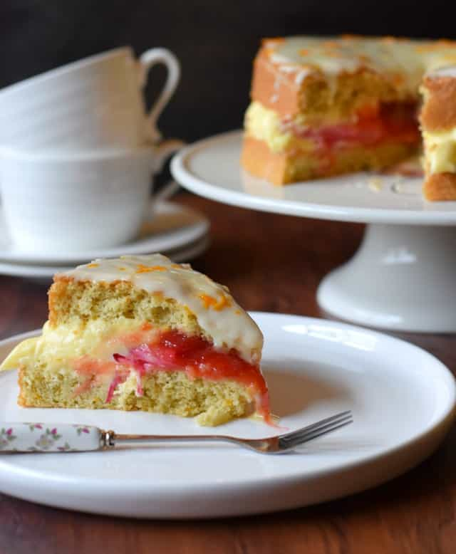 Rhubarb and Genoise Cake recipe, perfect for afternoon tea.
