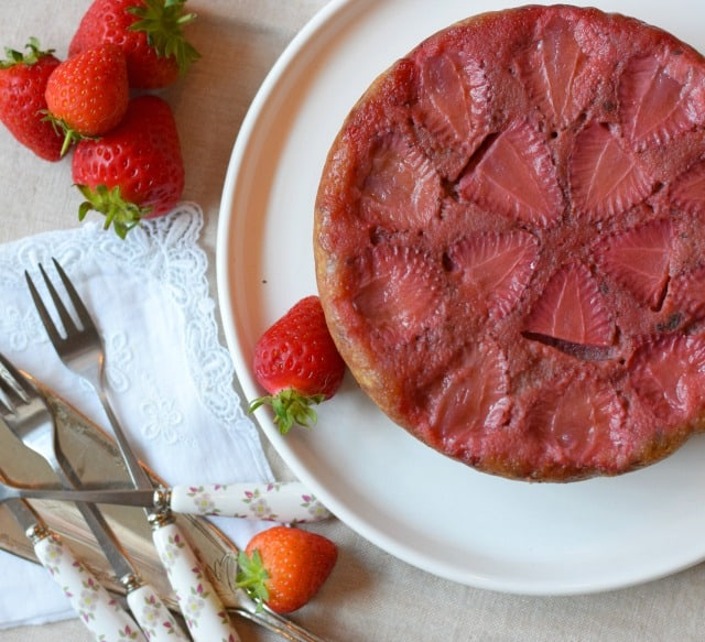Strawberry and Basil Upside-Down Cake