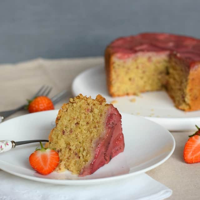 This strawberry cake is not only easy to make, but delicious and pretty too without the need for frostings