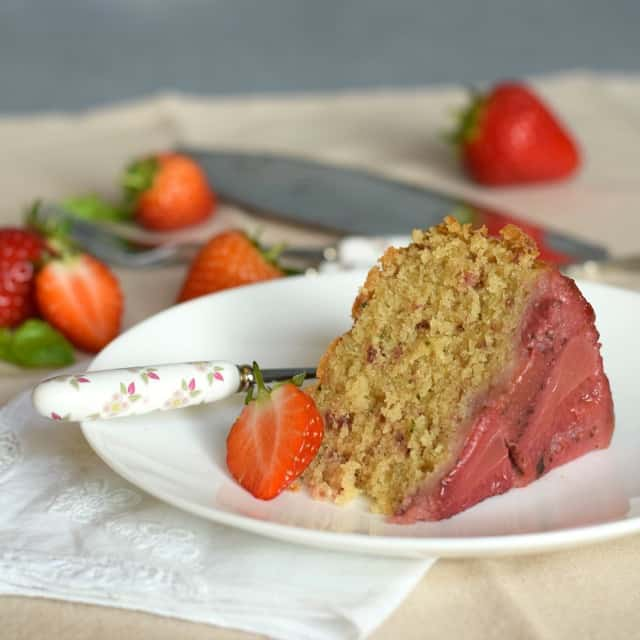How to make a strawberry and basil upside-down cake