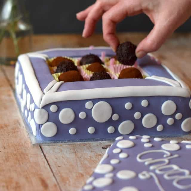 How to make a cake resemble a box of chocolates