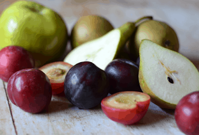 Pears, plums and bramley apple