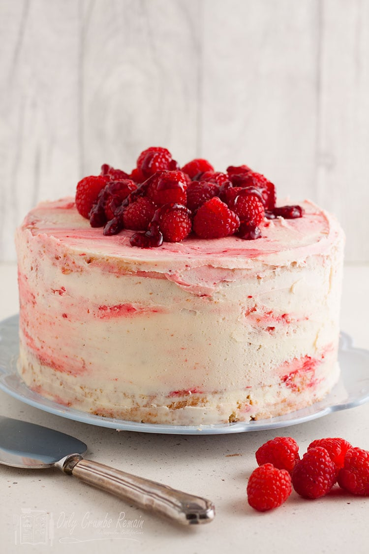 uncut lemon and raspberry layer cake
