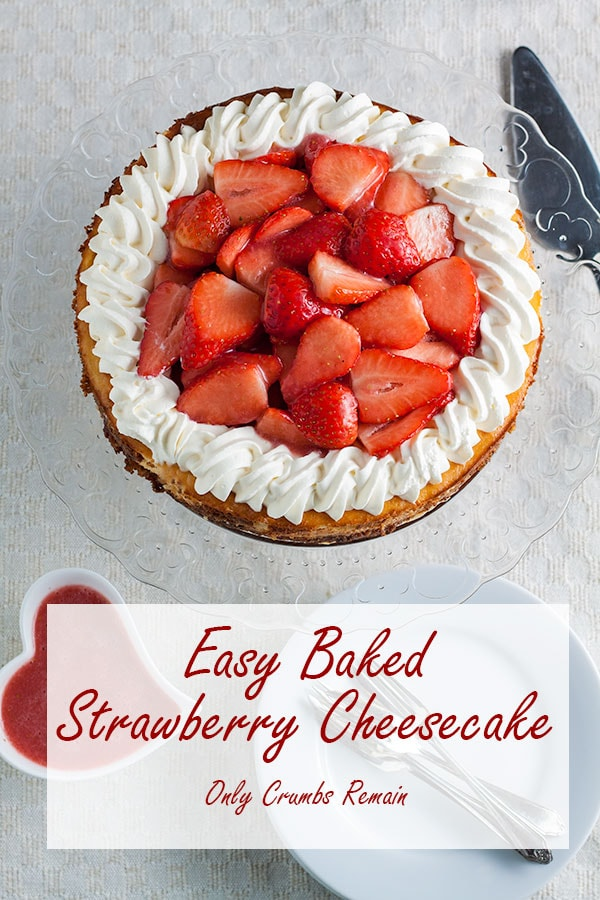 Easy baked strawberry cheesecake on plate.